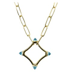 Maviada's Color Logo Chain Necklace in 18k Gold, Reverse Cut, London Blue Topaz