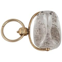 Crystal Gold engraved fob