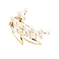 Vintage Cultured Pearl Yellow Gold Spray Brooch