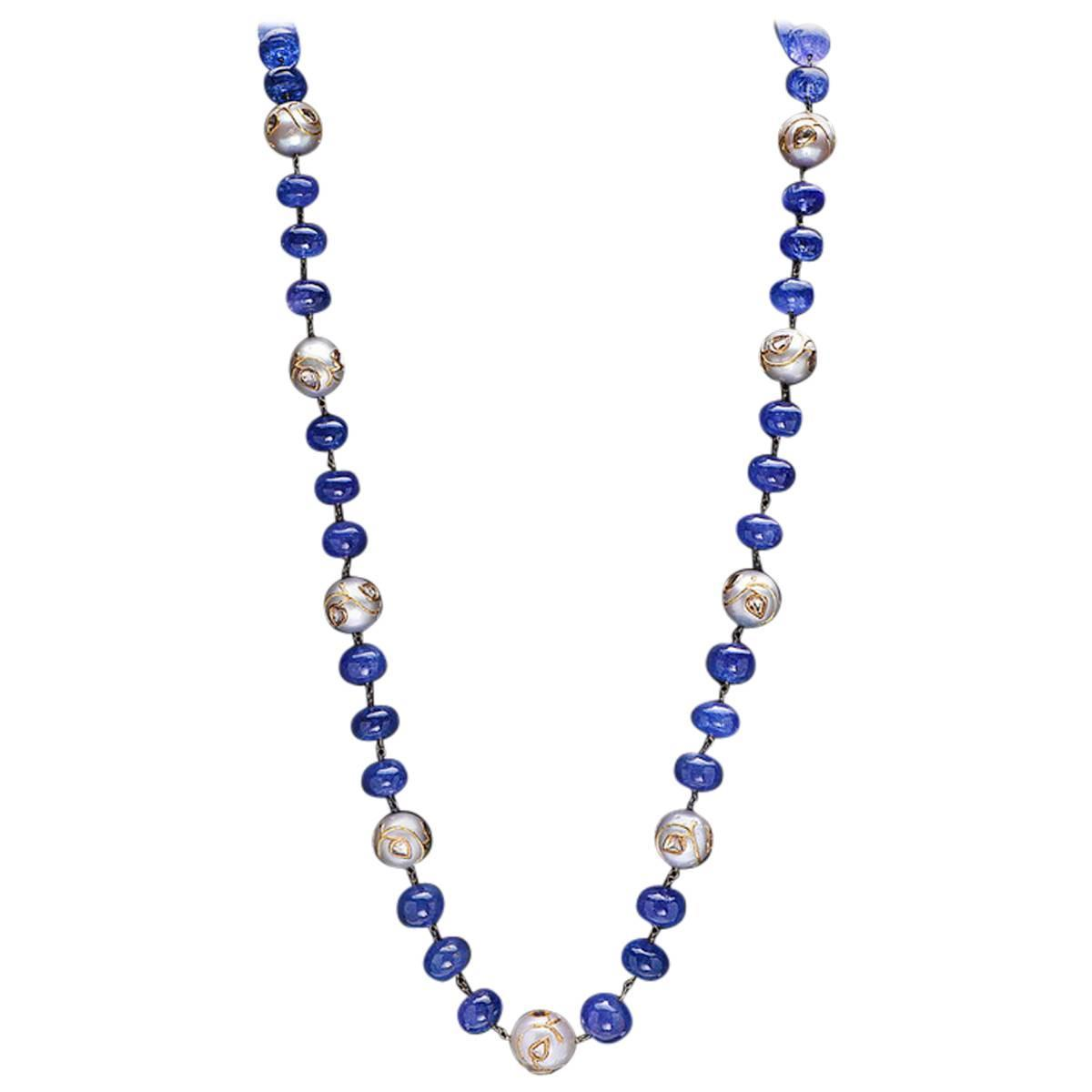 Pearl Tanzanite: Gorgeous Tanzanite Pearl Necklace For Sale At 1stdibs
