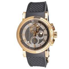 Breguet Marine Tourbillon Rose Gold Skeleton Back Chronograph Wristwatch