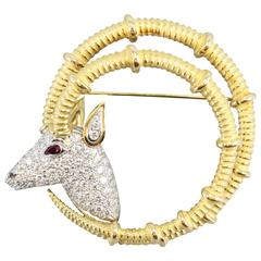 Tiffany & Co. Schlumberger Ruby Diamond Platinum Gold Ibex Brooch
