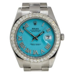 Rolex 116300 Datejust Stainless Steel Turquoise Diamond Dial Watch