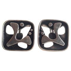 Rare Everett MacDonald Abstract Sterling Silver Cufflinks