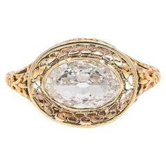 Antique 1.03 Carat Oval Cut Diamond Engagement Ring