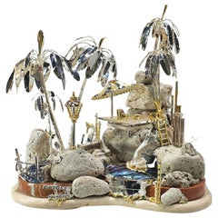 """Paul Amey """"The Island"""" Hand Crafted Artisan Silver Sculpture"""