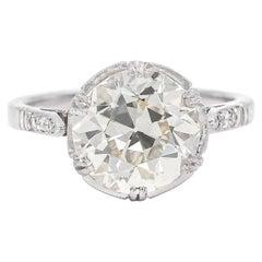 French Art Deco 3.93 Carat Old European Cut Diamond Engagement Ring