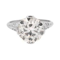 Art Deco 4.06 Carat GIA Certified Old European Cut Diamond Engagement Ring