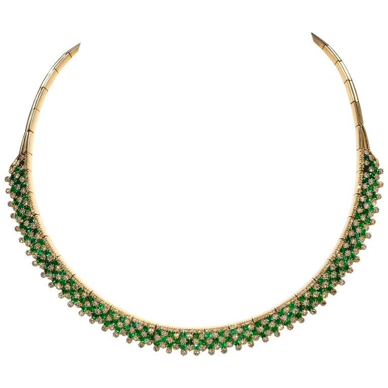 Emerald Diamond Gold Necklace