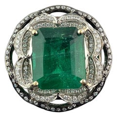 6.54 Carat Emerald and Diamond Cocktail Engagement Ring