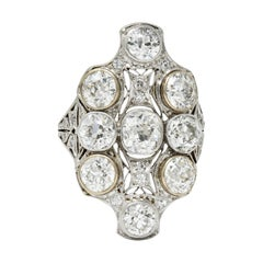 Edwardian 5.60 Carats Diamond 18 Karat White Gold & Platinum Dinner Ring