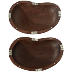 Pair of Wood and Silver Dishes by William Spratling