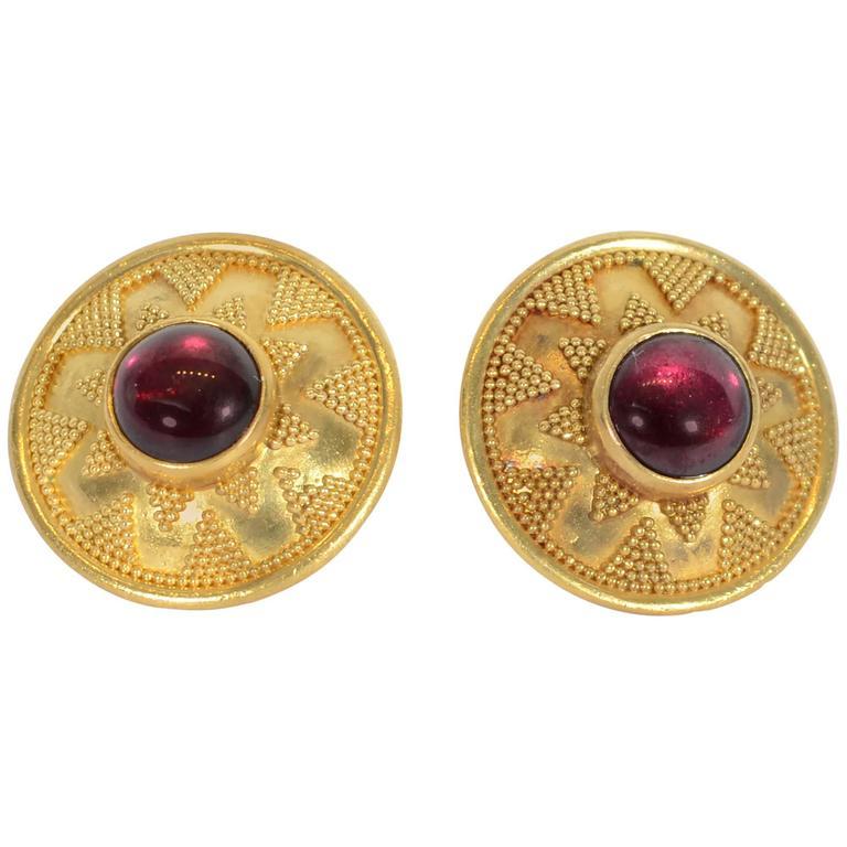 Elaine Greenspan Etruscan Revival Garnet Gold Earrings For Sale