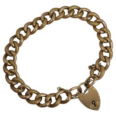 Victorian 9 Carat Rose Gold Chased Curb Bracelet and Padlock Clasp