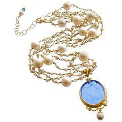 Freshwater Pearls Cornflower Blue Venetian Glass Intaglio Cameo Necklace