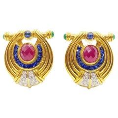 Ruby, Blue Sapphire, Emerald with Diamond Earrings Set in 18 Karat Gold Settings