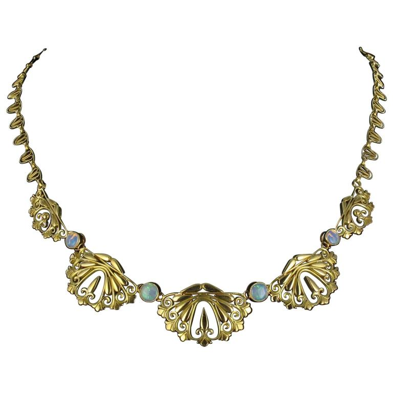 1900s French Opal Gold Drapery Necklace  1
