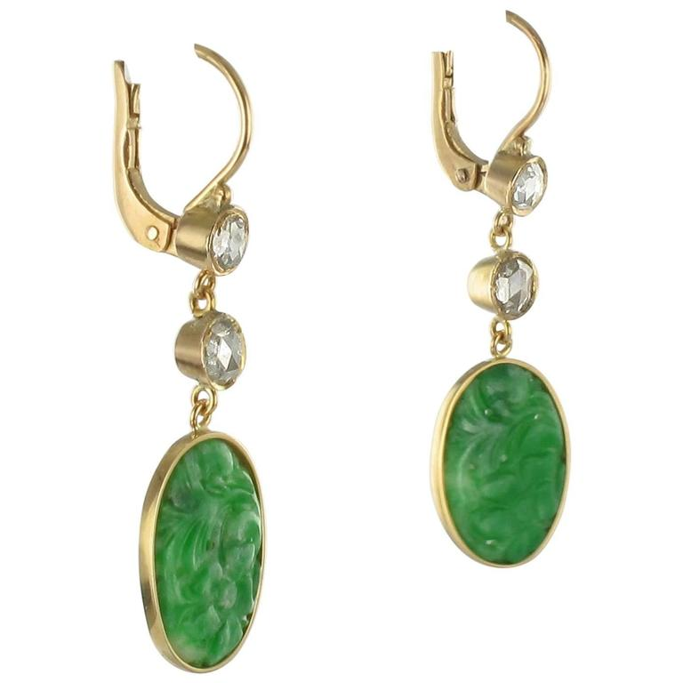 Antique Jade Diamond Gold Earrings For Sale at 1stdibs