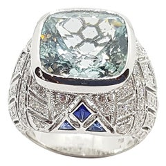 Aquamarine with Diamond and Blue Sapphire Ring in 18 Karat White Gold Settings