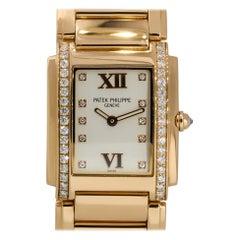 Patek Philippe 4910/11 18k Rose Gold Silver Dial Diamond Watch