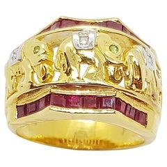 Ruby with Tsavorite and Diamond Elephant Ring Set in 18 Karat Gold Settings