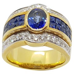 Blue Sapphire with Diamond and Blue Sapphire Ring Set in 18 Karat Gold Settings