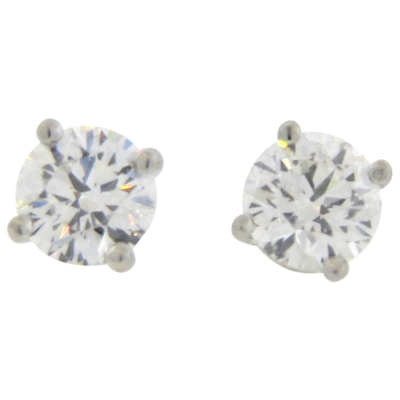 Tiffany and Co 1 46 Carat Diamond Platinum Stud Earrings at 1stdibs