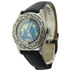 Shellman Silver Plate World time Minute Repeater Quartz Wristwatch