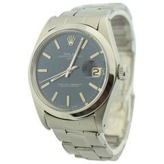 Rolex Stainless Steel Date Blue Original Dial Wristwatch Ref 1500