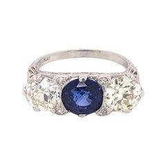 Three-Stone Sapphire Diamond Platinum Art Deco Revival Ring Fine Estate Jewelry