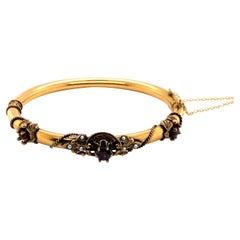 Vintage 14K Yellow Gold Victorian Reproduction Bangle with Garnet and Seed Pearl