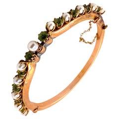 Vintage 14K Rose Gold Pearl and Peridot Bangle Bracelet
