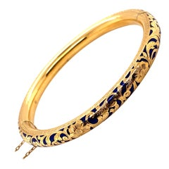 Vintage 18K Yellow Gold Floral Bangle with Blue Enamel