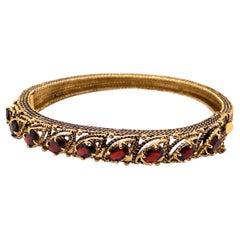 Vintage 14K Yellow Gold Garnet Bangle Bracelet