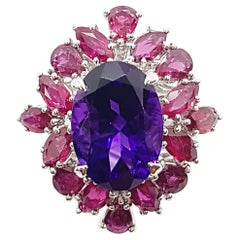 Amethyst with Ruby Ring Set in 18 Karat White Gold Settings