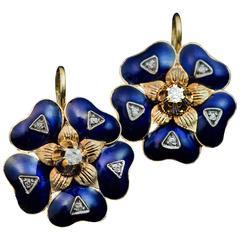 Antique Victorian Enamel Diamond Gold Earrings