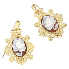 18 Carat Gold Plated 925 Sterling Silver with Sea Shell Cameo Earrings