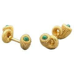 Tiffany & Co. Schlumberger Malachite 18 Karat Gold Cornucopia Cufflinks