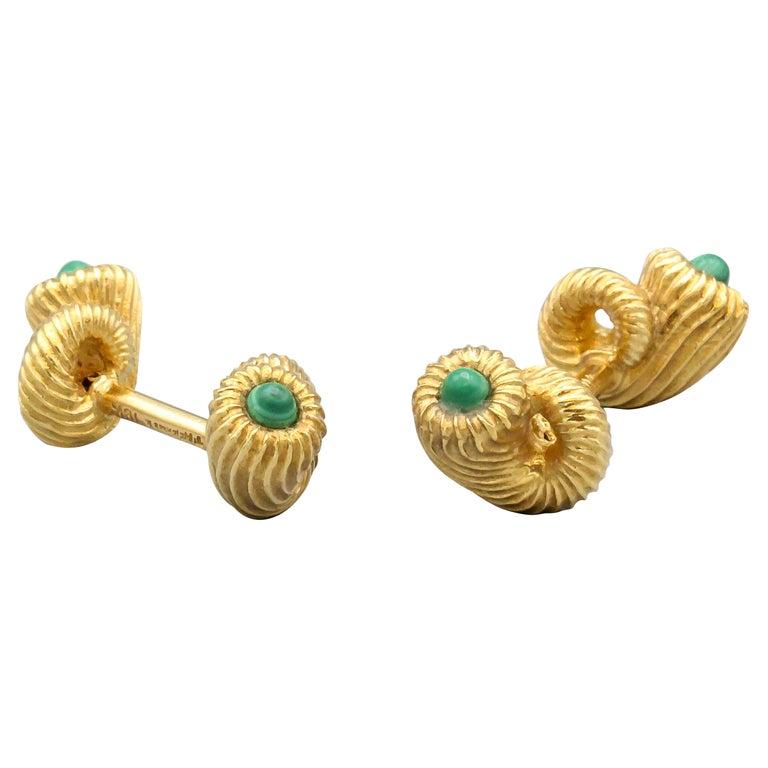 Tiffany & Co. Schlumberger Malachite 18 Karat Gold Cornucopia Cufflinks For Sale