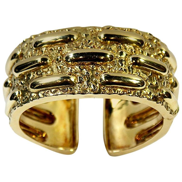 David Webb Textured Gold Cuff Bracelet