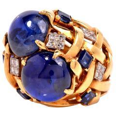 Natural Sapphire Diamond Gold Ring