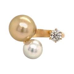 South Sea & Golden Pearl Diamond Fashion Ring 0.50 Carats 18K Gold