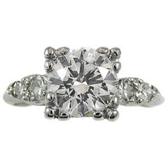 1.35 Carat GIA Certified Round Brilliant Diamond Platinum Ring
