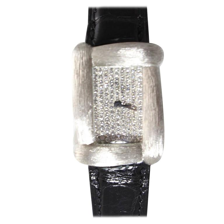 Henry Dunay Lady's White Gold Diamond Quartz Wristwatch