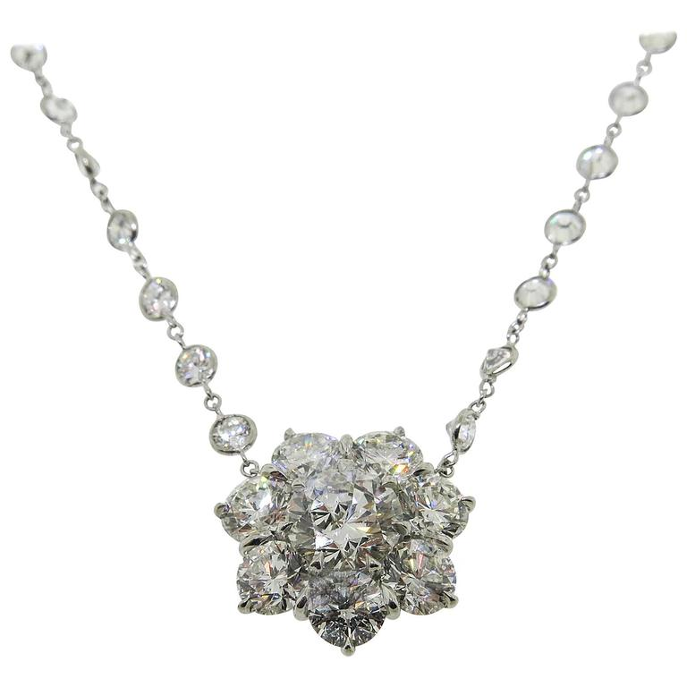 Platinum Flower Diamond Cluster Necklace