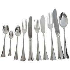 Art Deco Silver Flatware Set For 18 People Comprehensive and Complete