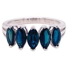 2.30 Carat Blue Sapphire Ring 14 Karat White Gold Five-Stone Anniversary Band