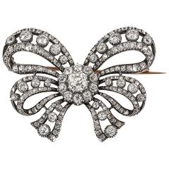 19th Century French Double Tied Diamond Set Fine Quality Bow Brooch