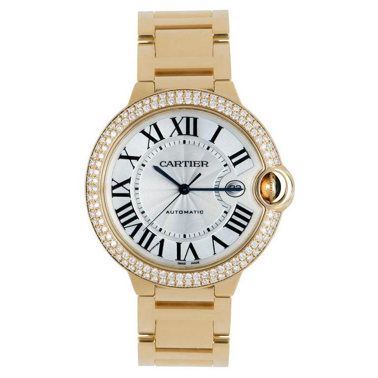 Cartier Ballon Bleu Yellow Gold Diamond Set WE9007Z3 Watch For Sale