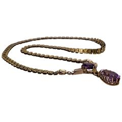 "Victorian Amethyst Gold ""Bookchain"" Necklace"